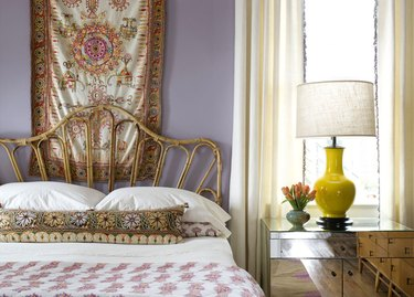 secondary colors purple and yellow in bedroom