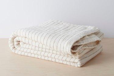 cream striped coverlet