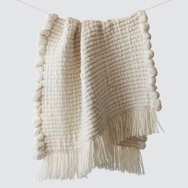 cream chunky wool throw blanket