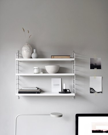 color meaning in gray office with open shelving