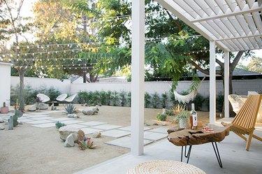 contemporary landscape in garden with desert aesthetic.