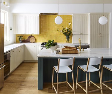 color meaning in modern kitchen with yellow zellige tiles