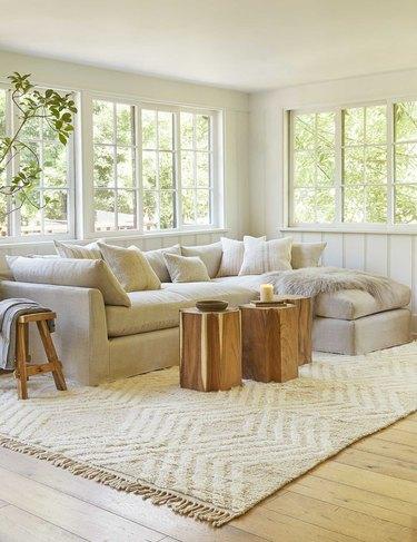living room with geometric rug