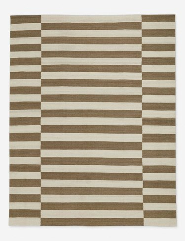 brown and cream striped rug