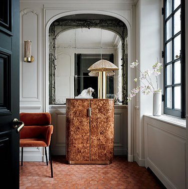 CB2 Amati burl wood entryway cabinet