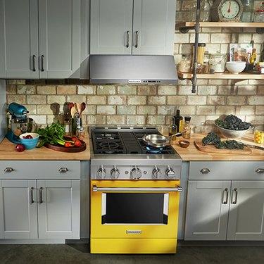 Yellow KitchenAid smart stove