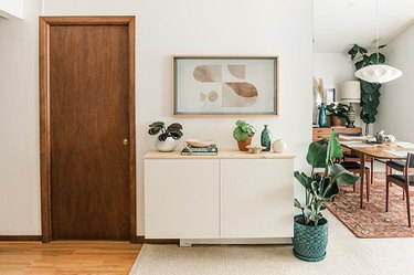 Style your floating console to suit your preferred aesthetic—Scandi, boho, mid-century, or even traditional!