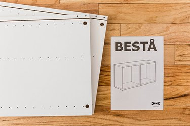 Start by assembling your IKEA BESTA unit up until the step where you put the back and top in place.