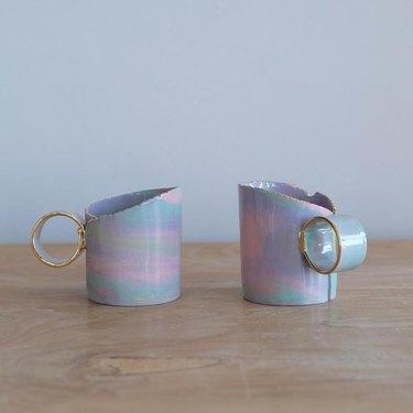 two colorful mugs