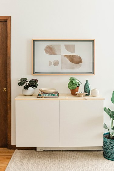 This minimalist floating cabinet can be put together in just one afternoon using hardware store basics.