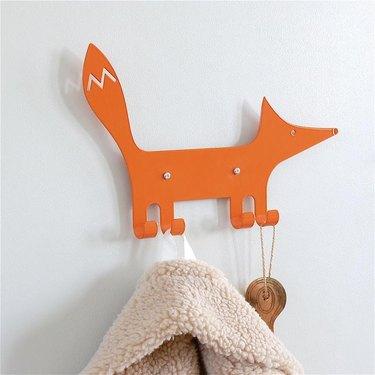 orange wall hook in shape of a fox