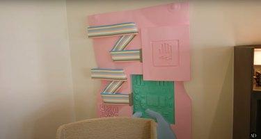 relief sculpture by artist Matthew Palladino in Hilary Duff's living room