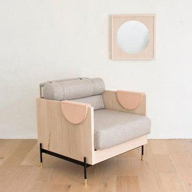 fluted chair near mirror