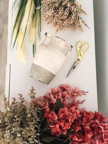Materials for faux flower arrangement