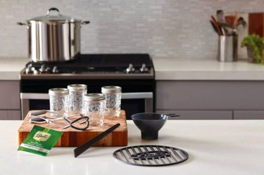 Stove with pot and canning kit
