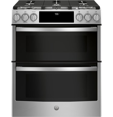 "best gas stove GE Profile™ 30"" Smart Slide-In Front-Control Gas Double Oven Convection Range"