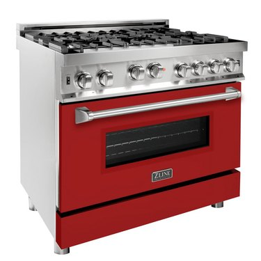 best gas stove ZLINE 36 in. Professional Gas on Gas Range in Stainless Steel with Red Gloss Door from Home Depot