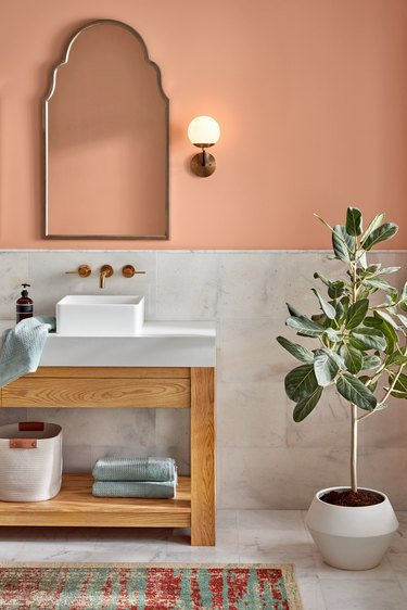 bathroom with pale orange wall