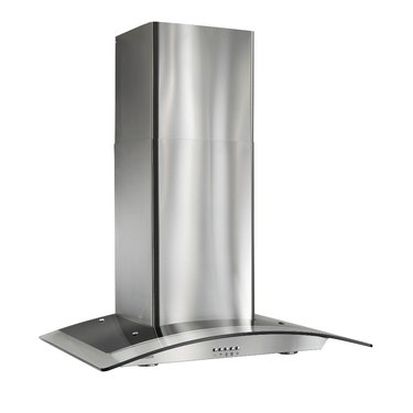 stainless steel stove hood vent with curved glass canopy