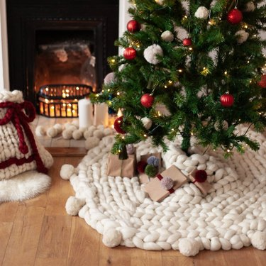 tree with knitted tree skirt