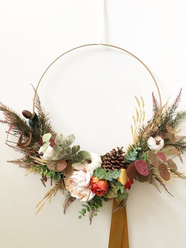 Thanksgiving Wreath with flowers and  Velvet Ribbon