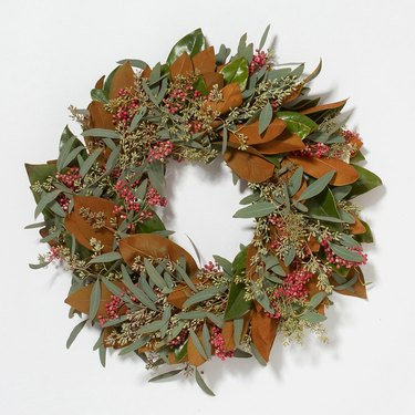 Fresh Seeded Magnolia & Berry Thanksgiving Wreath