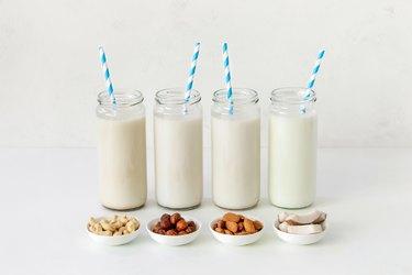 Vegan non-dairy milks assortment