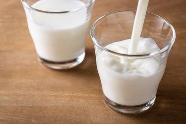 Pour milk into a glass