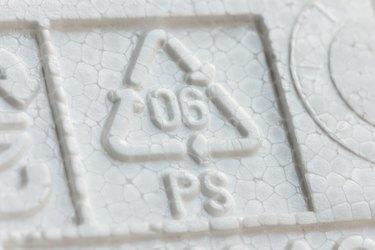 Styrofoam recycling symbol PS 06