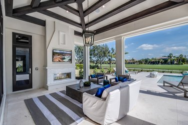 Outdoor living space next to golf course