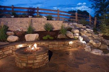 Beautiful Backyard Fire Pit and Seat Wall