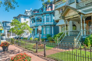 Victorian style houses in Cape May New Jersey USA