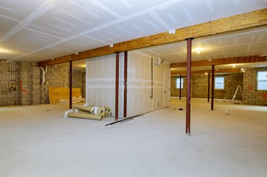 Unfinished basement framing construction project