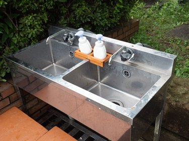 Hand-washing place installed outdoors