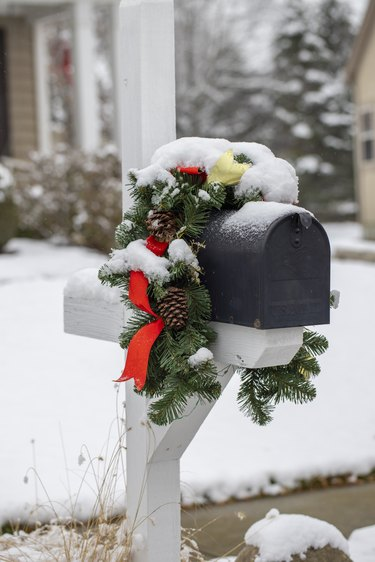 Mailbox with holiday decorations