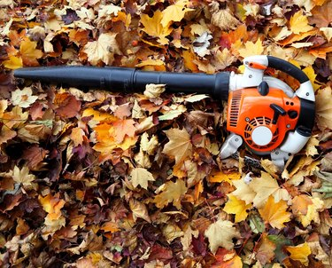 Leaf blower on a bed of leaves in an autumn day