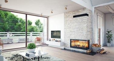 Modern living interior with sliding glass doors