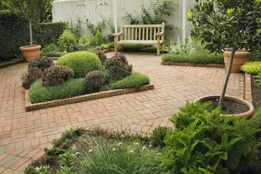 Landscaped Small Back Yard Urban Patio Garden with Furniture, Flowers
