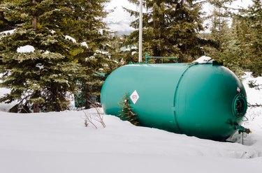 Large Propane Tank in a Snowy Yard