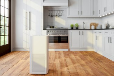 Air Purifier In Modern Kitchen For Fresh Air, Healthy Life, Cleaning And Removing Dust.