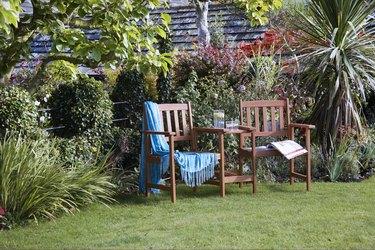 Love seats in a late summer garden