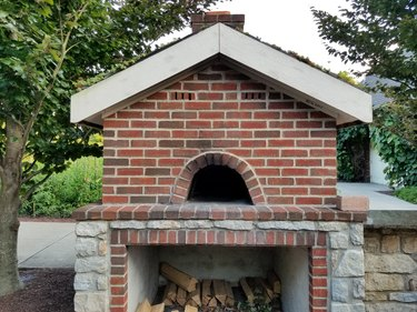 Wood fired brick pizza oven outdoors
