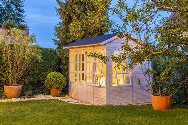 Lighted garden shed