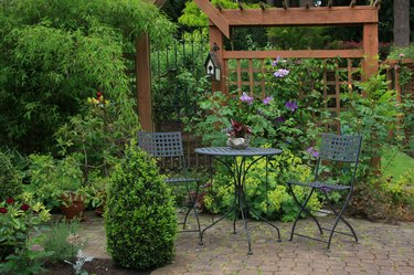 Backyard patio with rich foliage and furniture