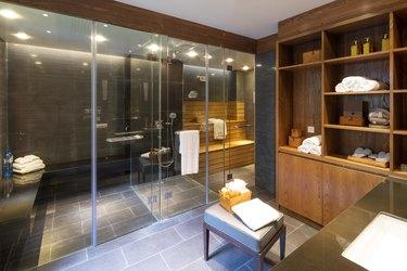 interior of modern sauna room