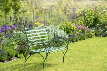 Close-up image of a wrought iron, green garden seat by a summer herbaceous border