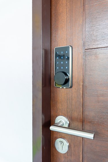 Electronic door lock security systems with key pads open by password number.