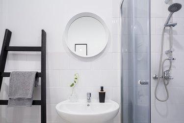 Bathroom with ladder shelf