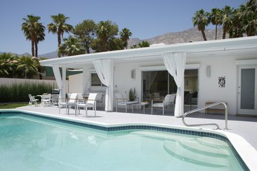 Pool and Patio Behind Mid-century Modern House