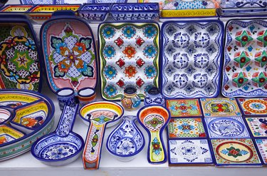 Colorful ceramics for sale in Isla Mujeres, Mexico